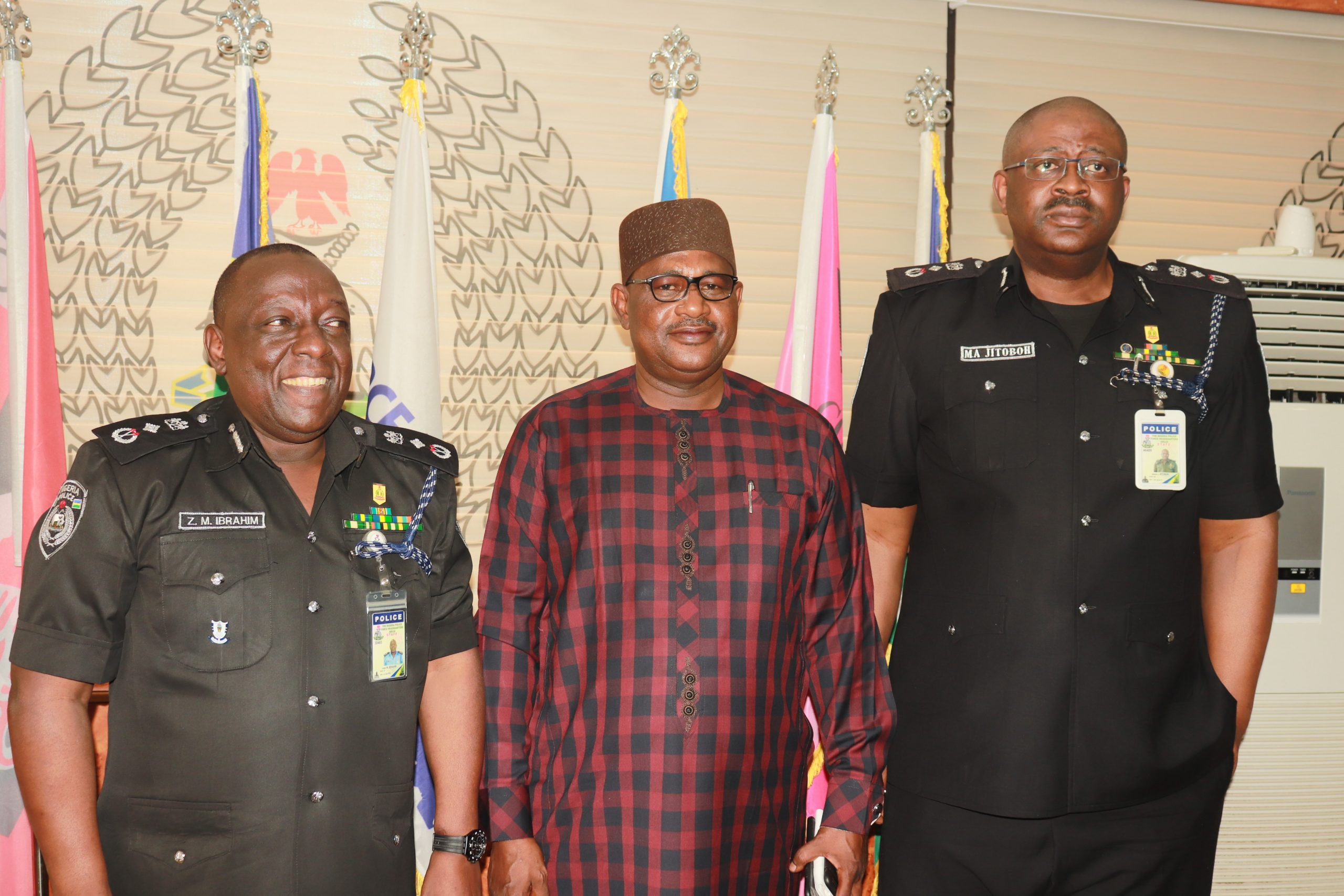 Newly promoted senior officers L R DIG Zanna Ibrahim mni DIG Tijani Baba and DIG Moses Jitoboh mni scaled - IGP Decorates Newly Promoted DIGs, Deploys Them To New Positions (Photos)
