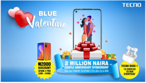 Tecno 300x170 - N2M Couple Anniversary Sponsorship, 200 New TECNO Buds 1, And Gift Boxes Up For Grabs In TECNO Blue Valentine