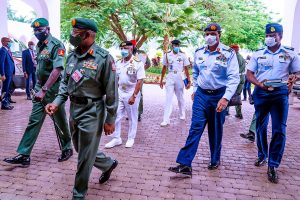 buratai and other service chiefs 300x200 - Buratai, Olonisakin, Others Arrive Senate For Ambassadorial Screening