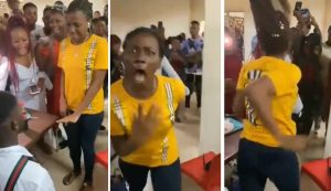 lady mad propose 300x173 - Confusion As Lady Allegedly Runs Mad During Proposal (Video)