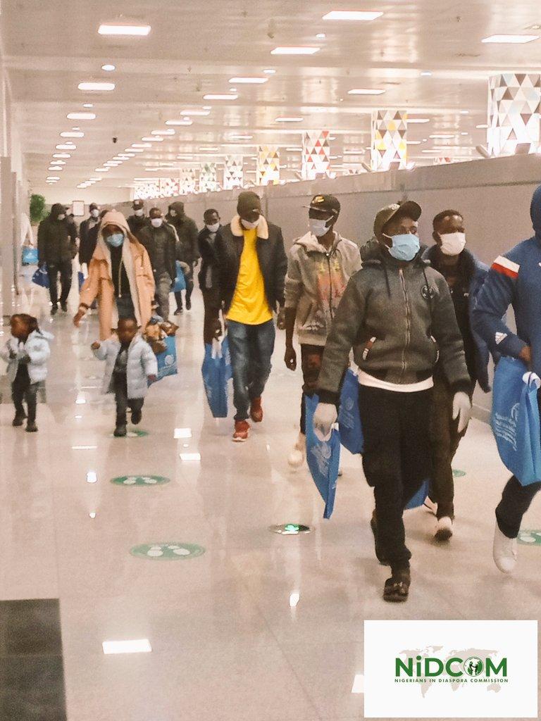 Photos: 118 Nigerians Stranded In Libya Evacuated To Abuja By NIDCOM