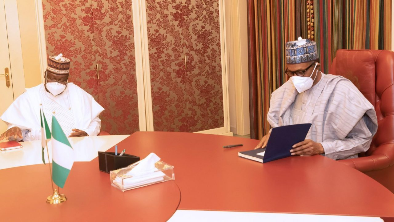 President Muhammadu Buhari sits with the President of the Nigerian Senate Ahmad Lawan at the State House, Abuja on Monday, March 29, 2021.