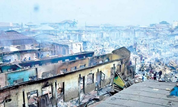 Goods Worth Millions Destroyed As Fire Razes Popular Oyo Market
