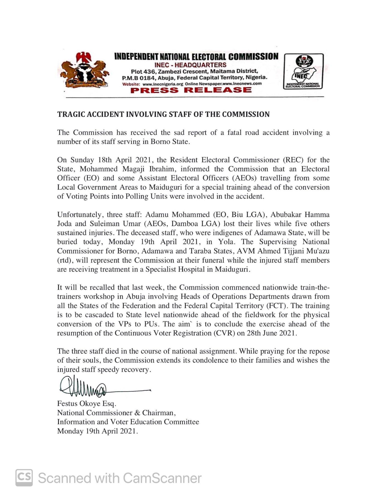 Three INEC Staff Killed In Road Accident In Borno