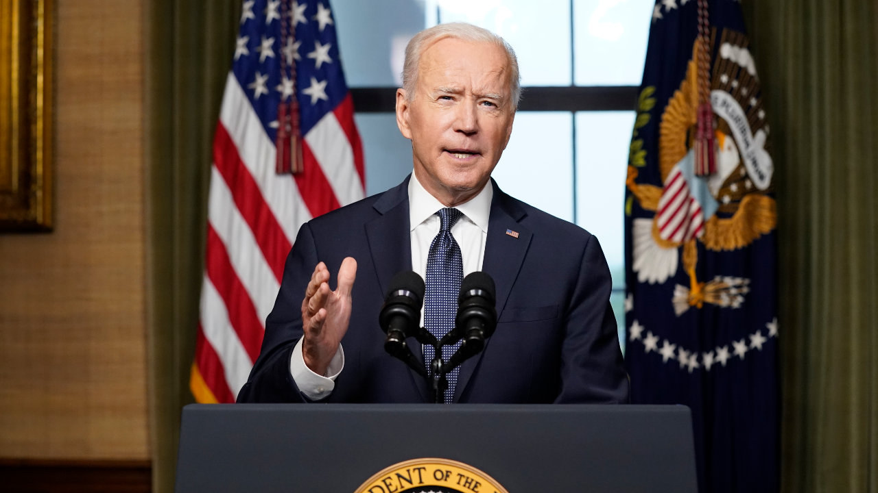 US President Joe Biden announces that the United States will withdraw its troops from Afghanistan on April 14, 2021 at the White House. © Andrew Harnik, AP