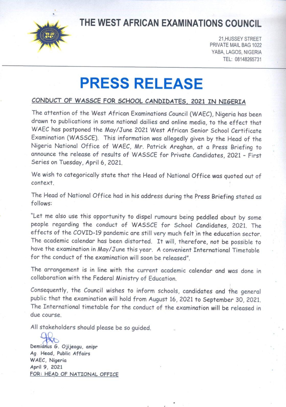 WAEC Announces New Dates For 2021 WASSCE