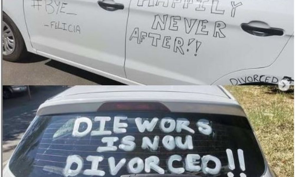 Marriage Is A Scam – Nigerians React After Man Defaces His Car As He Joyfully Announces His Divorce