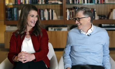 In this Feb. 1, 2019, file photo, Bill and Melinda Gates look toward each other and smile while being interviewed in Kirkland, Wash. Associated Press