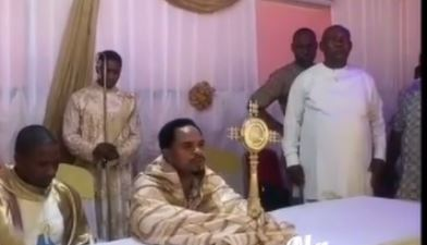 Outrage As Prophet Odumeje Lifts Monstrance During Adoration |Photo
