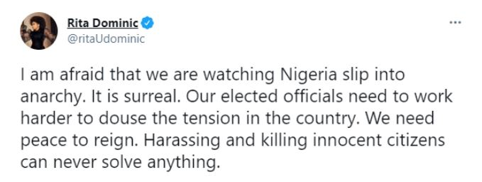 I Am Afraid - Actress, Rita Dominic Expresses Fear Over State Of Nation