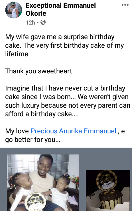 Nigerian Man Reacts After Wife Surprises Him With His First Birthday Cake |Photos