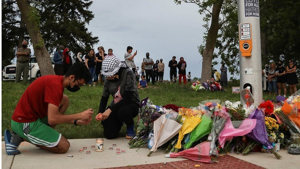 A makeshift memorial for the victims was set up at the scene of the attack