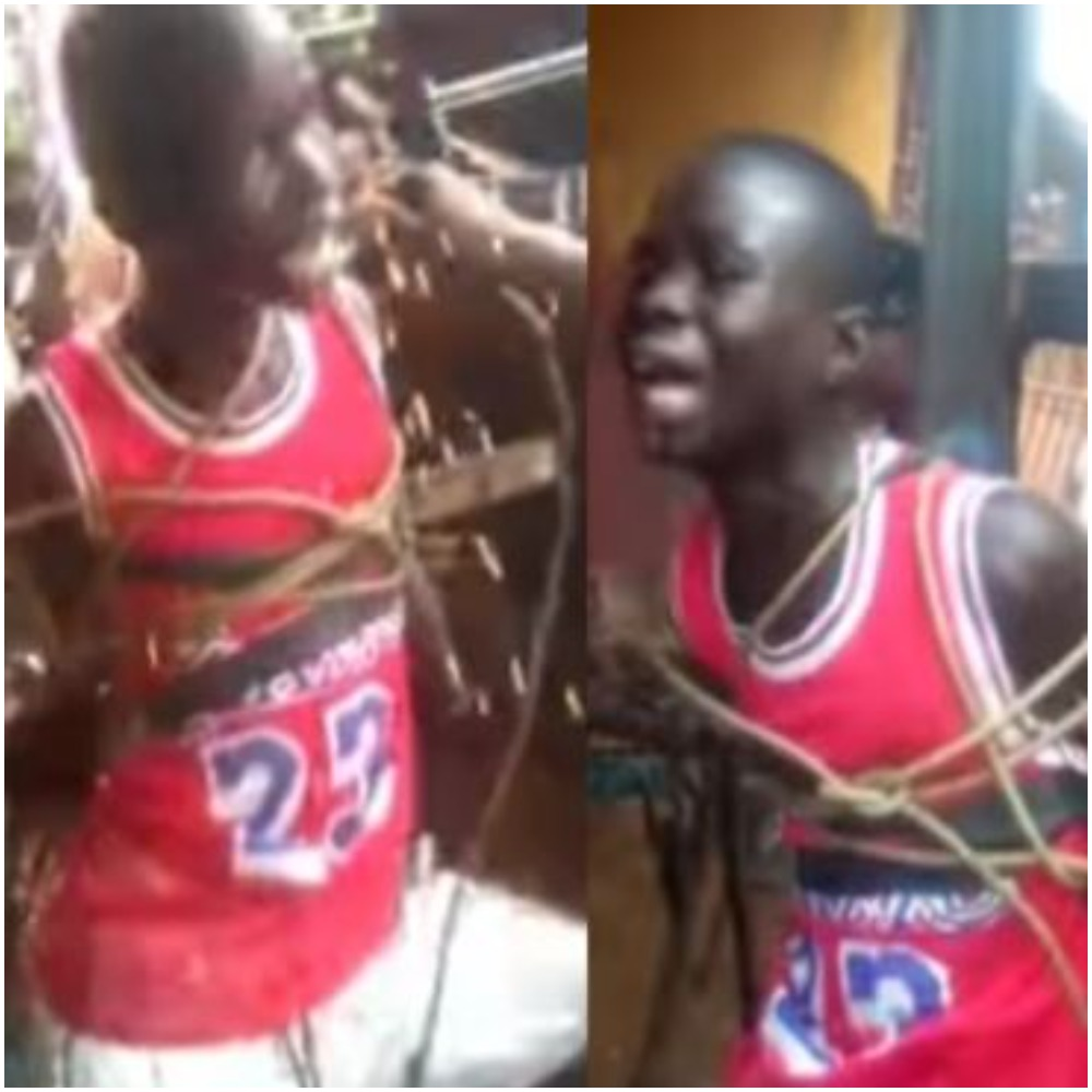 Outrage As Man Tortures Boy Tied To A Metal Cross With Multiple Electric Shocks
