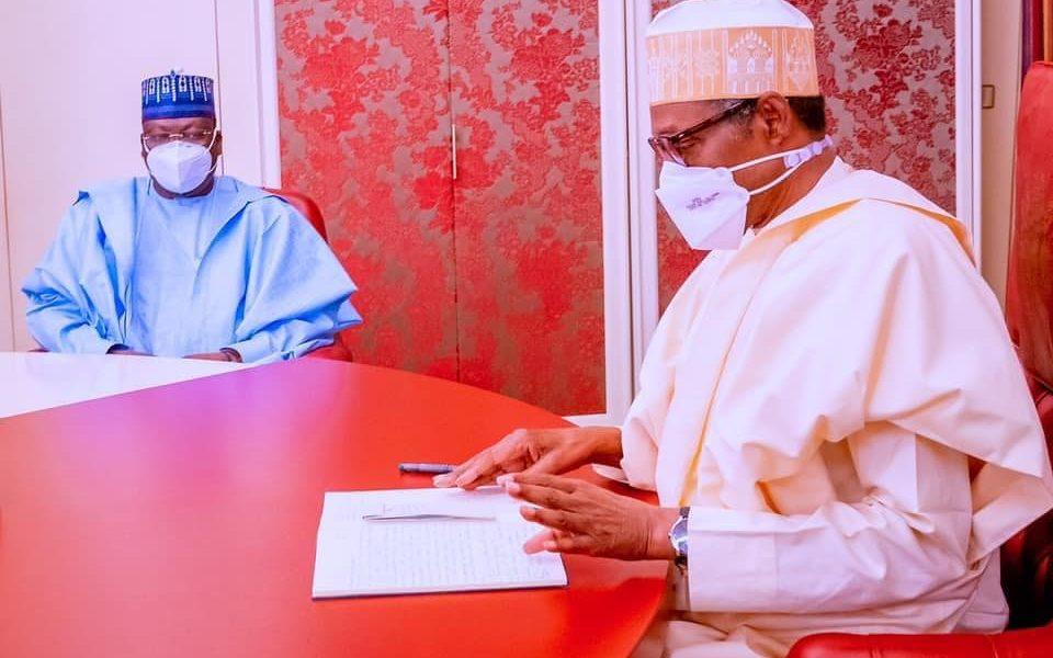 Buhari Meets Senate President Lawan