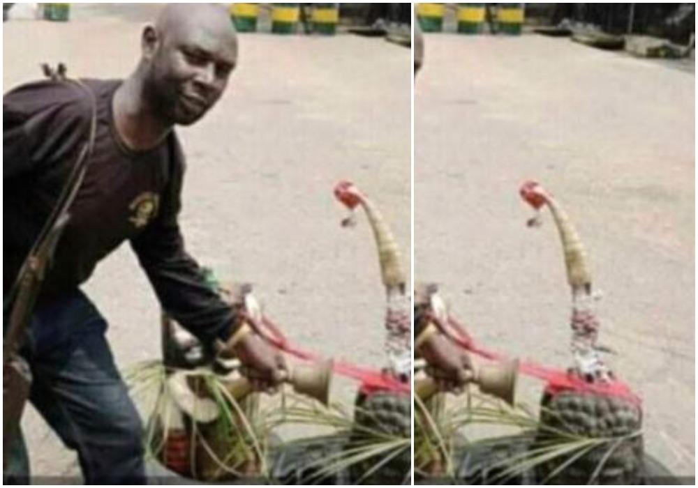Nigerians React To Viral 'Juju' Photo Placed Near Umuahia Police Post