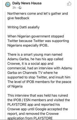 Radio Biafra is set to be reported on Playstore by northern youths
