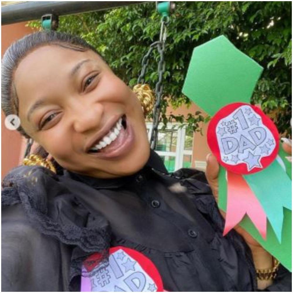 Tonto Dikeh Gets 'No 1 Dad' Badge At Her Son's School
