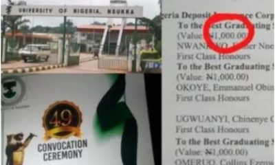 Outrage As UNN Best Graduating Students To Share N1.5k, N1k Cash Prizes