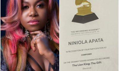 Singer, Niniola Flaunts Her Grammy Awards Certificate |Photos