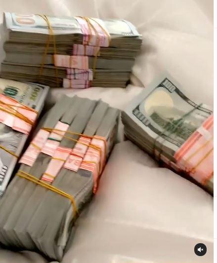 Bobrisky shows off wads of dollars