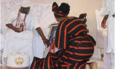 Creative Lady Makes A Portrait Of Ooni Of Ife Using Water Sachets