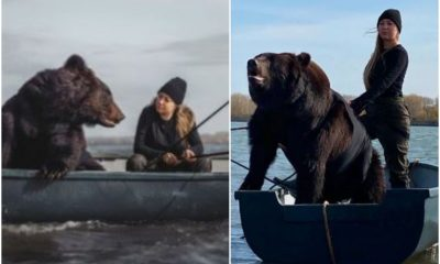 Fearless Lady Goes Fishing In A Tiny Boat With Giant Brown Bear