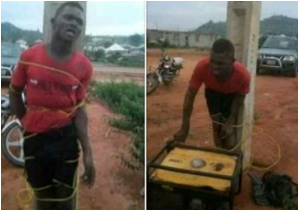 Generator Thief caught and tied to an Electric Pole in Abuja |Photos