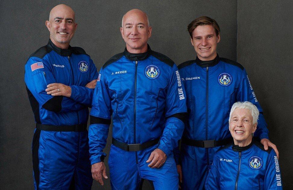 Jeff Bezos, along with his Blue Origin crew members. Photo: Blue Origin