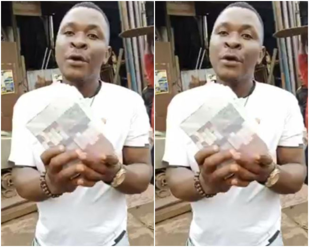 Man shows off 100k he picked at Obi Cuban's Mum's Burial
