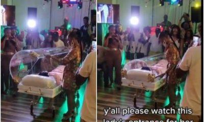 Woman celebrates 50th birthday in coffin