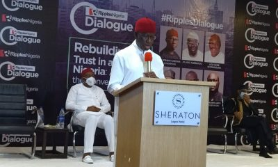Gov Okowa delivering the keynote address at the Ripples Dialogue
