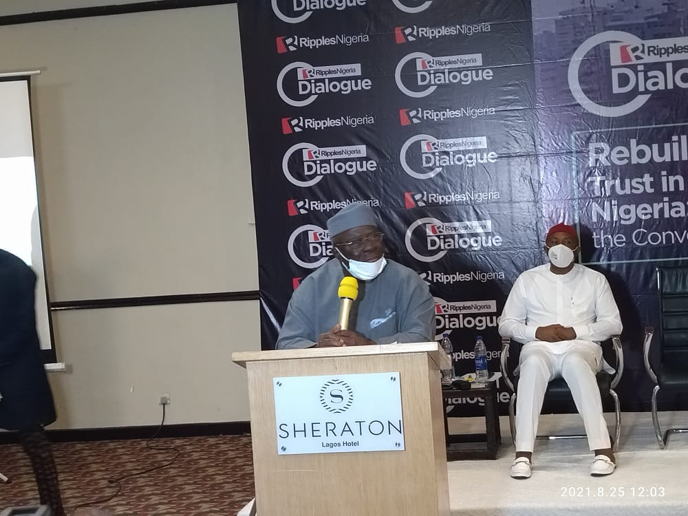 Pa Ayo Adebanjo speaking at the Ripples Dialogue
