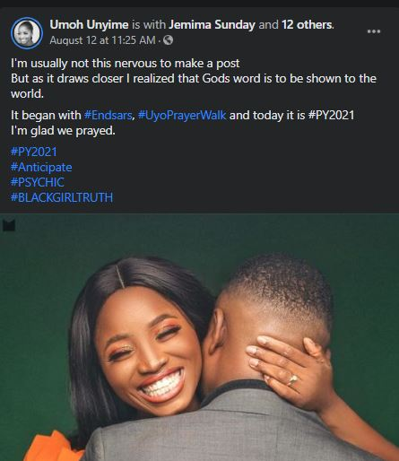 Nigerian Lady Sets To Wed Man She Met During #ENDSARS Protest Prayers