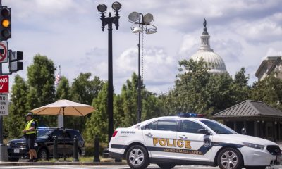 Police set up a security perimeter near the Library of Congress in Washington, Thursday, August 19, 2021.