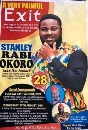 Family Of Late Nollywood Actor, Stanley Releases Burial Poster And Date