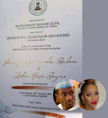 Yusuf Buhari wedding invitation