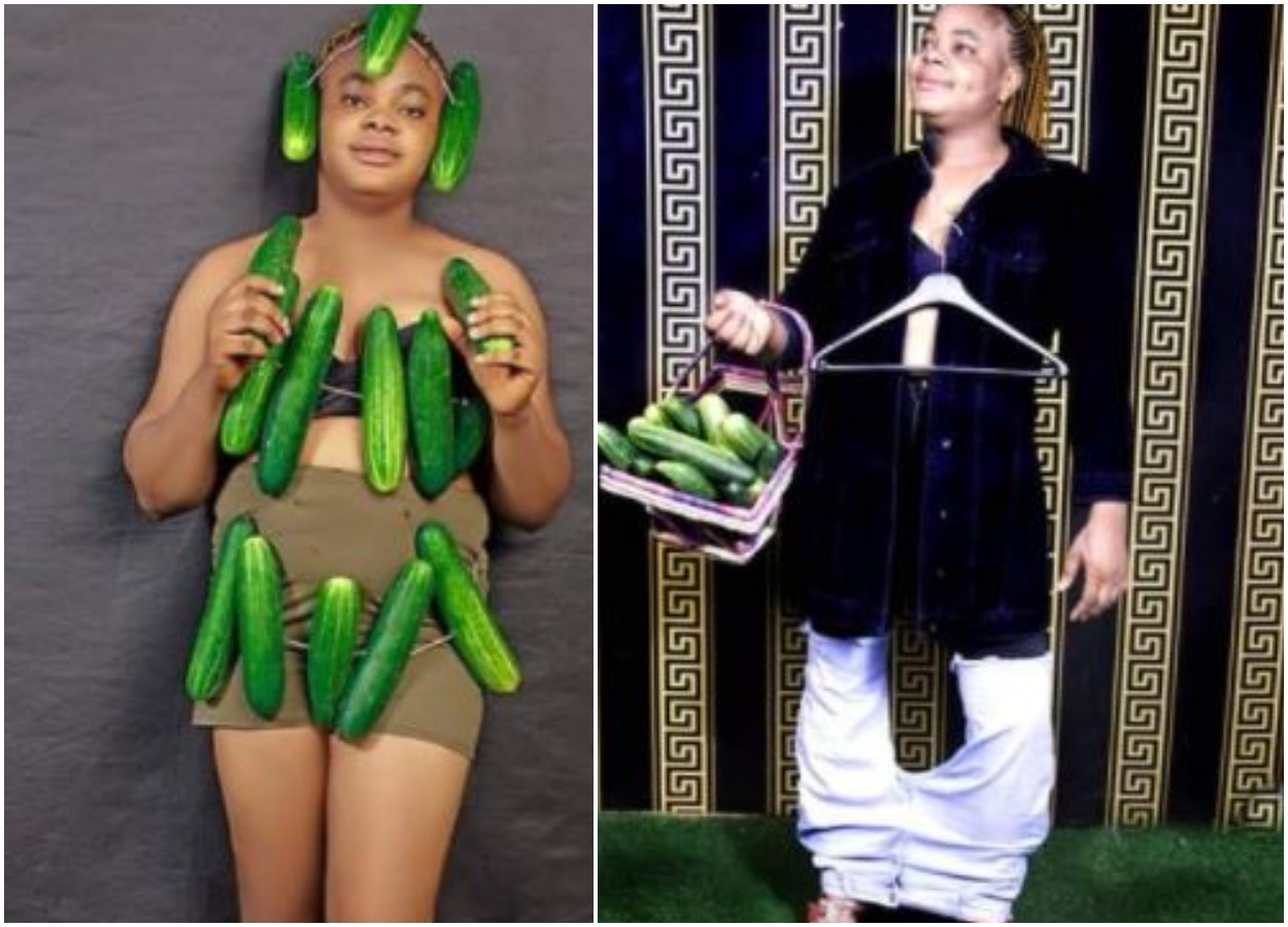 Pretty Lady Makes Special Request To God As She Celebrate Birthday With Big Cucumbers