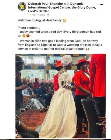 woman wears wedding gown to church