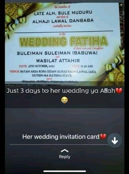 Bride to e dies